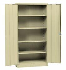 """Metal Storage Cabinet Steel Locking With Doors Lock Garage Shop 72"""" Tall Putty"""