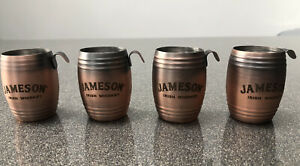 JAMESONS WHISKEY COPPER BARREL BACK SHOT CUPS X 4 - BRAND NEW - 25ML