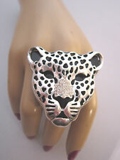 Strass Ring Fingerring Damenring Stretchring Silber Kristall XL Leopard Tiger