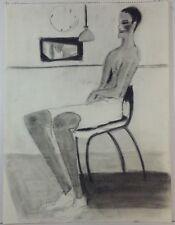 "1979 ""Figure of Man in Shorts"" SURREALISM PASTEL - JANE UPP (Attrib.) 18"" x 24"""