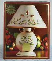 LENOX Holiday Tealight Votive Lamp Christmas Holly Berry Candle Holder Lamp