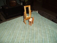 Vintage BRINN'S WOOD FULL LENGTH MIRROR W/STOOL Dollhouse Furniture Lot 2 Pieces