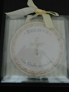 "Grasslands Road Baby Plaque ~ Believe in God's Miracles 5.25"" Round"