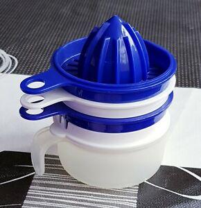 TUPPERWARE Neu Küchenperle Reibe Eitrenner Kännchen Saftpresse Blau weiß D215