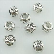 16203 50PCS Alloy Antique Silver Vintage Mini Flower 7mm Spacer Tube Beads Charm