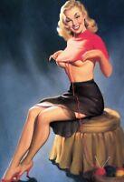 Tricot Pin Up Girl Panneau Métallique Plaque Voûté Métal Étain Signer 20 X 30 CM