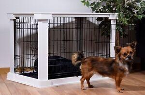Design Hundekäfig für drinnen, Hundebox Haustierkäfig Indoor Gitterbox weiß Holz