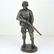 """US Army War Soldier Honor & Courage Bronze Figurine Miniature Statue 11""""H New"""