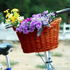 AU Trendy Style Brown Willow Wicker Bicycle Bike Front Basket With Straps AUFT