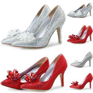 WOMENS CINDERELLA DIAMANTE HIGH HEEL PROM SHOES WEDDING BRIDAL EVENING SANDALS