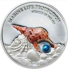 2016 Palau $5 PEARL Miracle Of The Sea, Marine Life Protection 1 Oz Silver Coin.