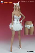 "1:6 Super Duck Female 12"" Figure Sexy Basque Corset Dress in White #SUD-C007B"