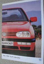 Volkswagen VW Golf MK3 Cabriolet Sales Brochure Dated 1997 & Spec Brochure