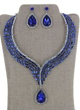 Blue & Clear Rhinestone Crystal Earring Necklace Set Bridal Party