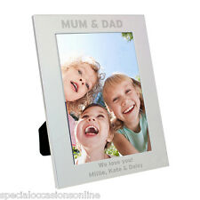 Personalised Silver Plated Portrait Photo Frame 5 x 7 Mum & Dad Christmas Gift