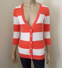NWT Hollister Womens Cardigan Sweater Size Small Striped Top Shirt Coral & White