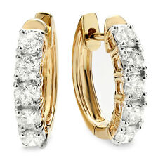 NEW 1.00ct Natural Round Diamond Hoop Earring 14k Yellow Gold Real Diamond Hoops