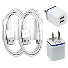 2x Charging / Sync Kits - Cords + Dual Port Home / Wall Chargers for iPhone 6 5s