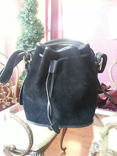 Authentic Coach Black Suede Drawstring Purse Antique Brass Hardware