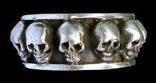 Solid Sterling Silver Handmade Skulls Templar Ring - All Sizes Skull ring Biker