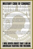 MILITARY POSTER ~ POW MIA CODE OF CONDUCT 24x36 Army Marines P.O.W. Prisoner War