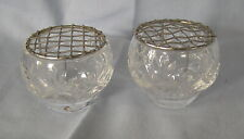 """ROYAL DOULTON PAIR MINIATURE CRYSTAL GLASS POSY BOWLS WITH METAL OASIS 1.75"""""""