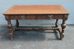 c1880-90 Antique French Louis XV style Carved Oak with Masks Writing Desk
