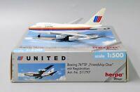 United Airlines B747SP-21 Reg: N147UA Herpa Scale 1:500 511797  LAST ONE!!!