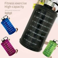 Water Bottle With Motivational Time Marker Wide Mouth Large Gallon 73 Oz Fitness