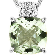 GENUINE DIAMOND & GREEN AMETHYST PLATINUM OVER 0.925 STERLING SILVER PENDANT