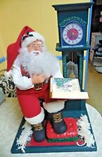 Animated Santa Claus Storyteller Cassette Player w/Grandfather Clock Work!