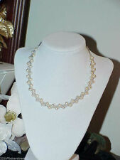 """Sterling Silver Pearl Woven Row Necklace Choker 16"""" 6mm Freshwater New Bridal"""