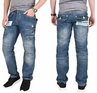 Mens Designer Straight Leg Denim Jeans Trousers Pants All Big King Waist Sizes