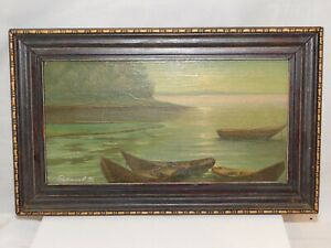 Hand Painted Oil Picture Painting Russian Water Scene Row Boats on water 7x11.5