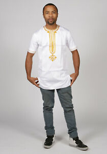 African Dashiki Embroidered Polished Cotton Men Shirt Top in Sizes M, L , XL, 2X