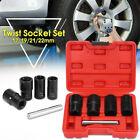 5PCS 17,19, 21MM, 22MM T-wist Socket Set 4 Damaged Worn Lug Nut & Lock Remover U