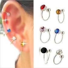 Fashion Clip On U Body Crystal Rhinestone Earring Nose Lip Ring Ear Cuff Stud 2X
