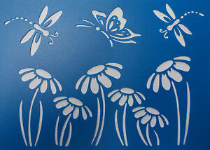Scrapbooking - STENCILS TEMPLATES MASKS SHEET - Dragonfly and Flower Stencil