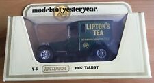 Matchbox Yesteryear Y5, 1927 Talbot, Lipton's, Raro 12 Radios Ruedas De Plata problema