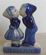 Vintage Dutch Boy and Girl Kissing Blue and White Porcelain Holland 1.5""