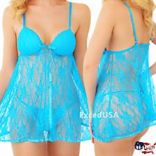 Sexy-Lingerie-Underwear-Set Sleepwear-Women-Panties-Bow-Lace-Babydoll-Nightwear