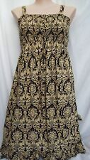 Autograph Black yellow Holiday Dress / Skirt asymmetrical uneven hem 24 shirred