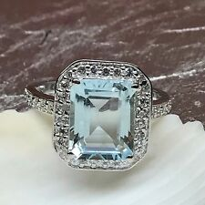 AAA Natural 2.5ct Aquamarine Emerald Cut 925 Solid Sterling Silver Ring 6