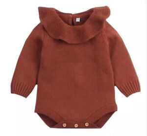 Baby Girls Knitted Ruffle Collar Romper Age 18-24 Months Red