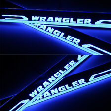 2X Door Entry Guards Sill Plate Scuff Blue LED Moving Light for Jeep Wrangler