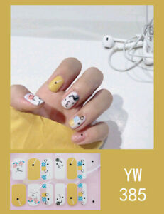 1 Sheet Polish Wraps Double Ended Adhesive Full Cover Nail Art Sticker For Women