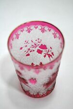 Rare Glass Cup Crystal Baccarat End XIX Th Overlay Pink