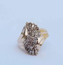 Genuine Diamond Cluster Spray Ring w/ 30 Genuine Diamonds .5 CTW 10k Yellow Gold