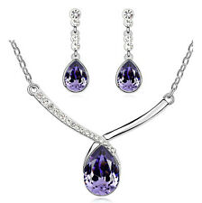 Elegant Purple Teardrop Bridal Crystal Jewellery Set Drop Earrings Necklace S825