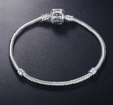 Silver Starter Moments Bracelet Classic Barrel LOVE Clasp for European CHARMS